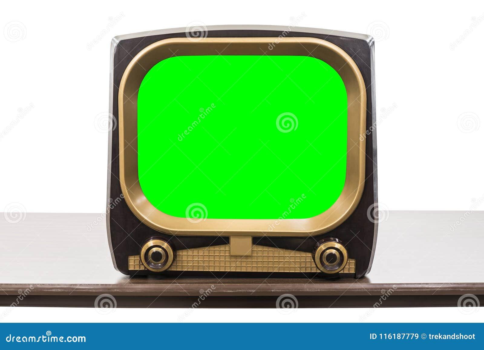 Televisione d annata degli anni 50 isolata con lo schermo di verde di chiave di intensità