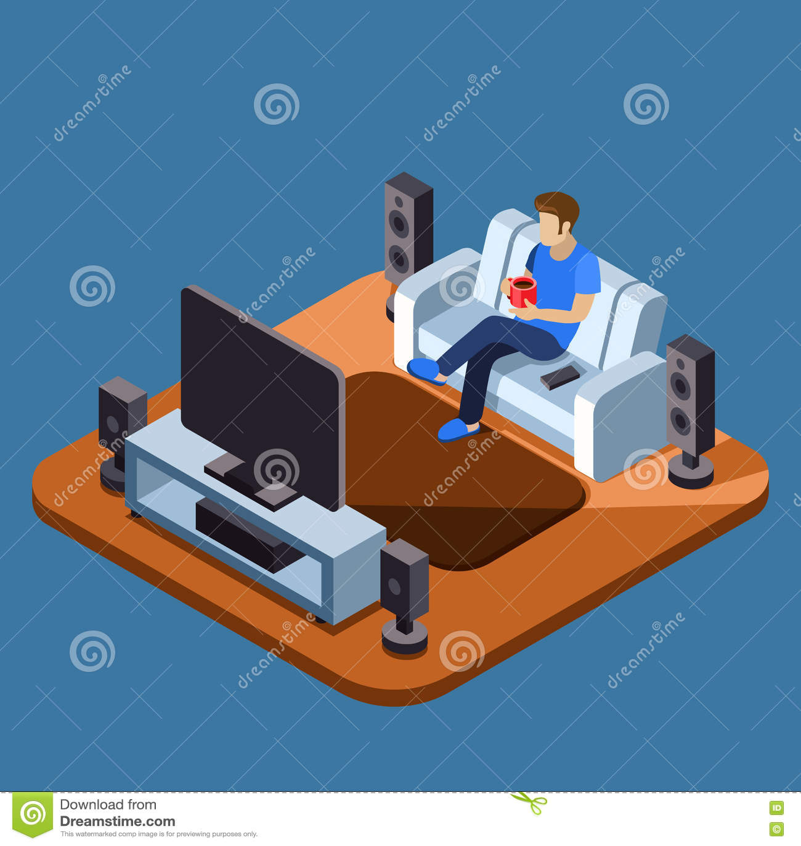 Televisione di sorveglianza dell uomo sul sofà Concetto isometrico piano di vettore