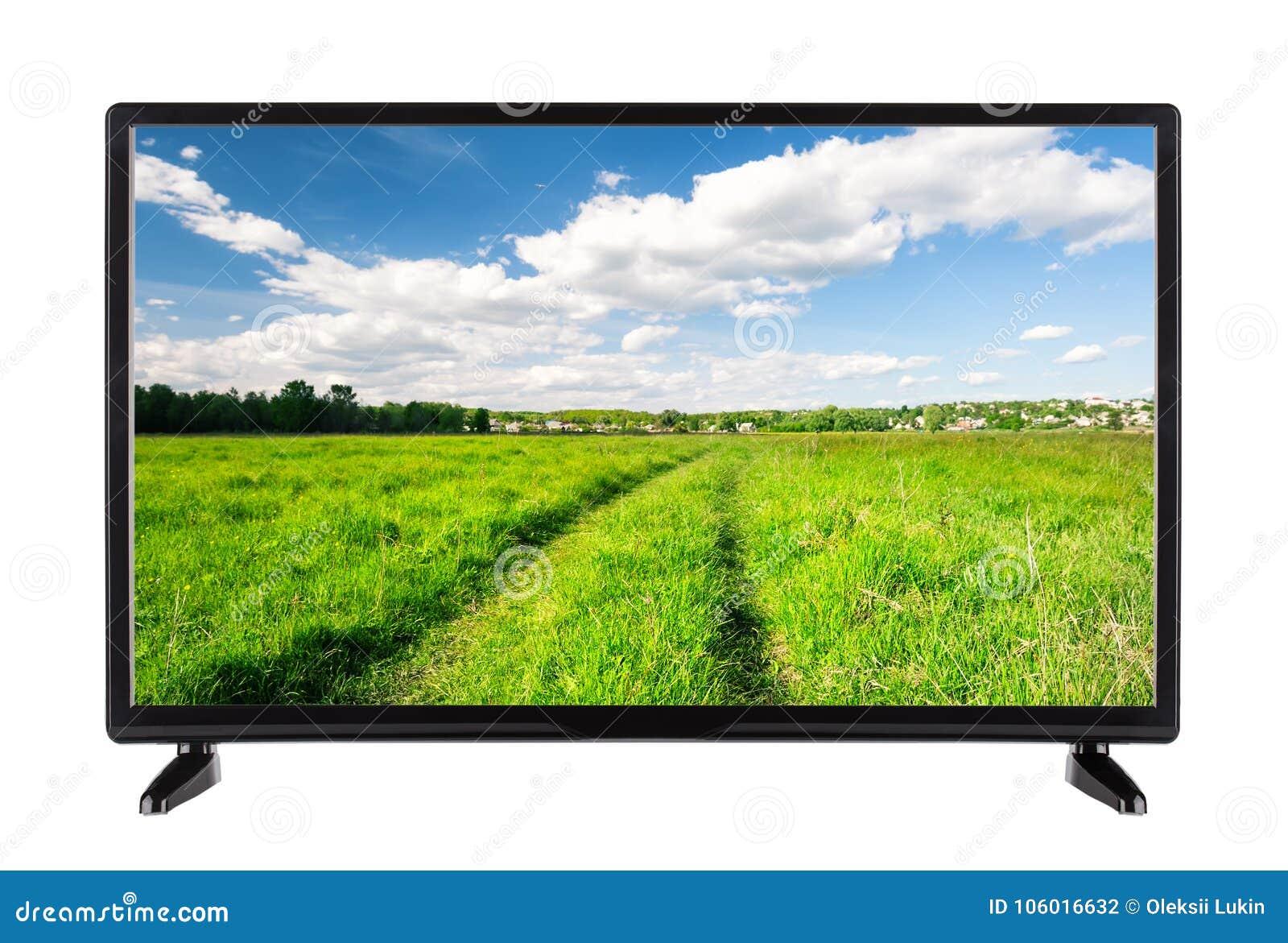 Televisor de alta definición plano con una carretera nacional en la pantalla