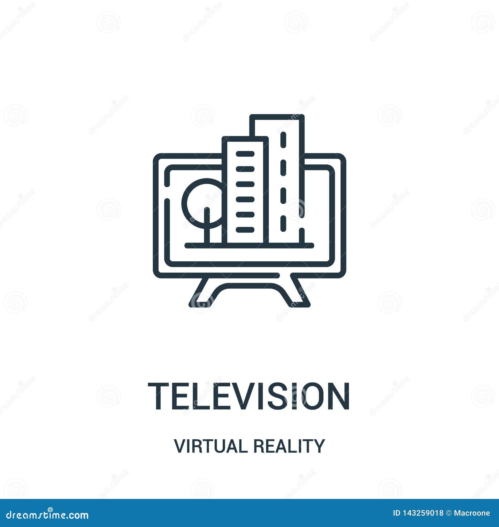 Telewizyjny ikona wektor od rzeczywistości wirtualnej kolekcji Cienka kreskowa telewizyjna kontur ikony wektoru ilustracja