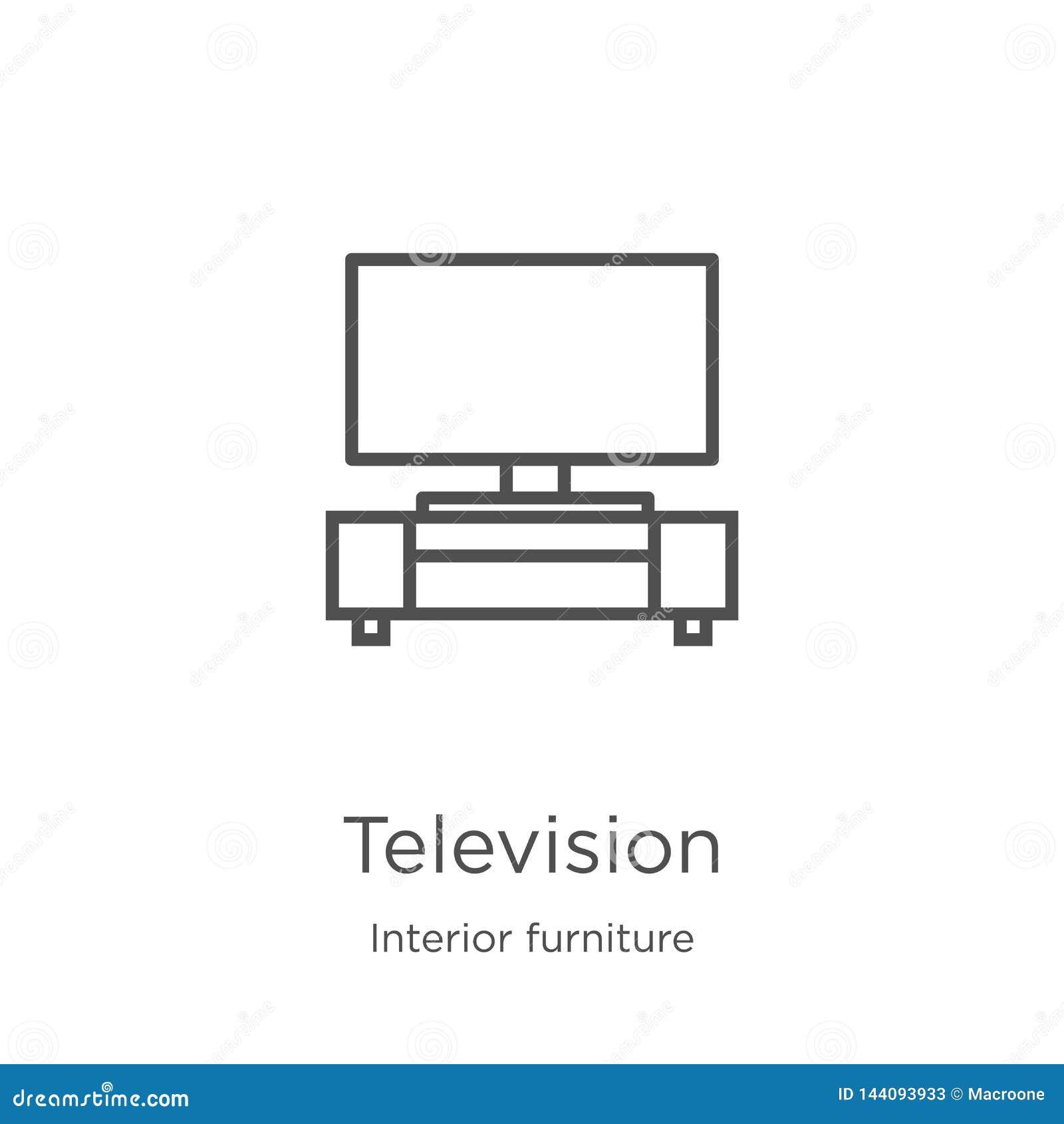 Telewizyjny ikona wektor od wewnętrznej meblarskiej kolekcji Cienka kreskowa telewizyjna kontur ikony wektoru ilustracja Kontur,