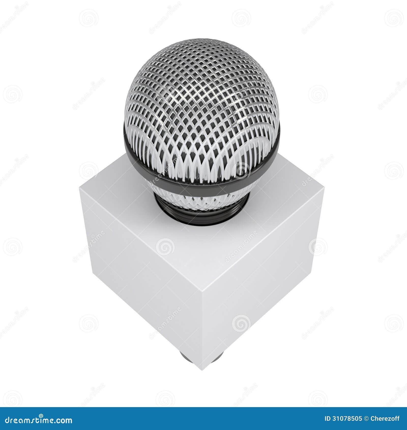 Telewizyjny mikrofon z pustym reklamowym sześcianem
