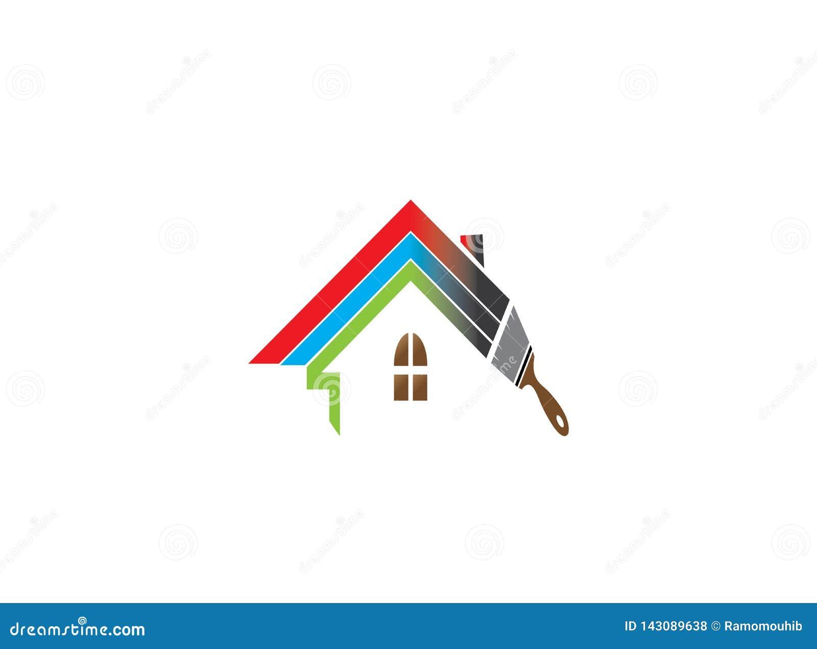 Telhado ou casa da casa da pintura da escova com os multicolors para o projeto do logotipo