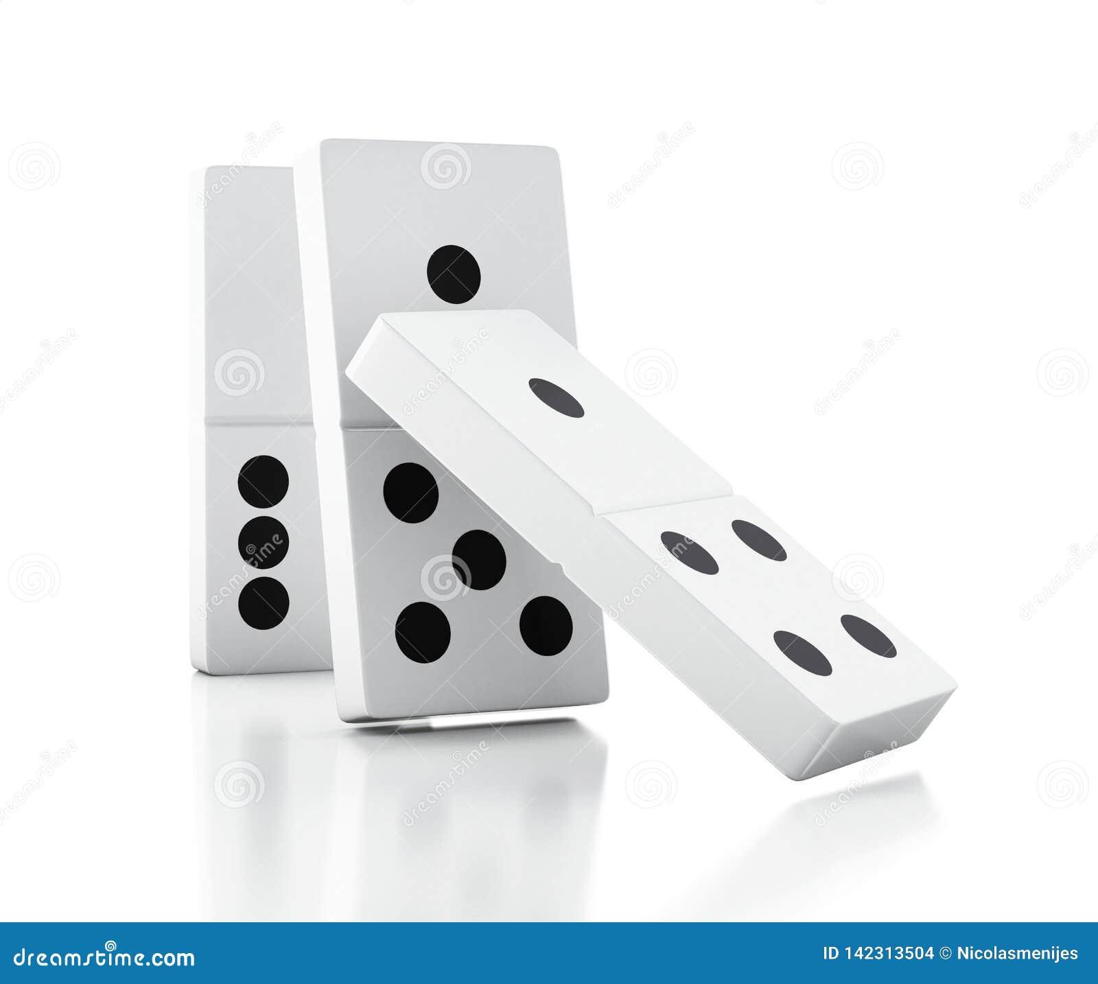 Telhas do dominó 3d que caem em seguido