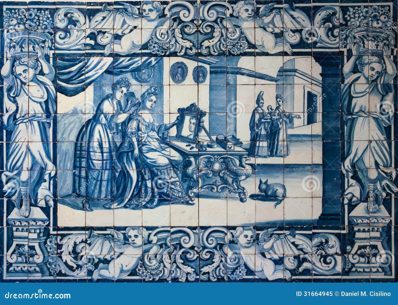 Telhas ou azulejos azuis tradicionais decoradas com uma for Azulejos europa 9 telefono