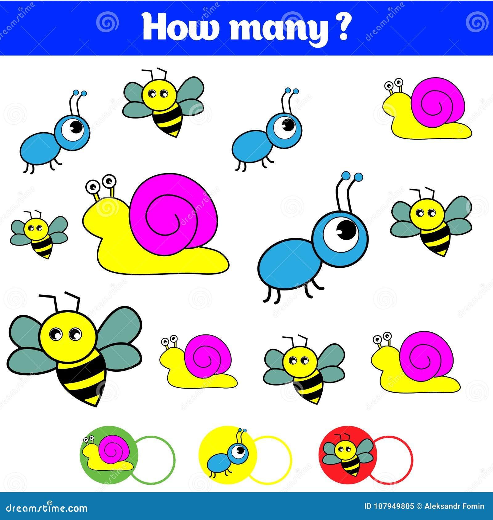 Tellend onderwijskinderenspel, het blad van de jonge geitjesactiviteit Hoeveel objecten taak Het leren wiskunde, aantallen