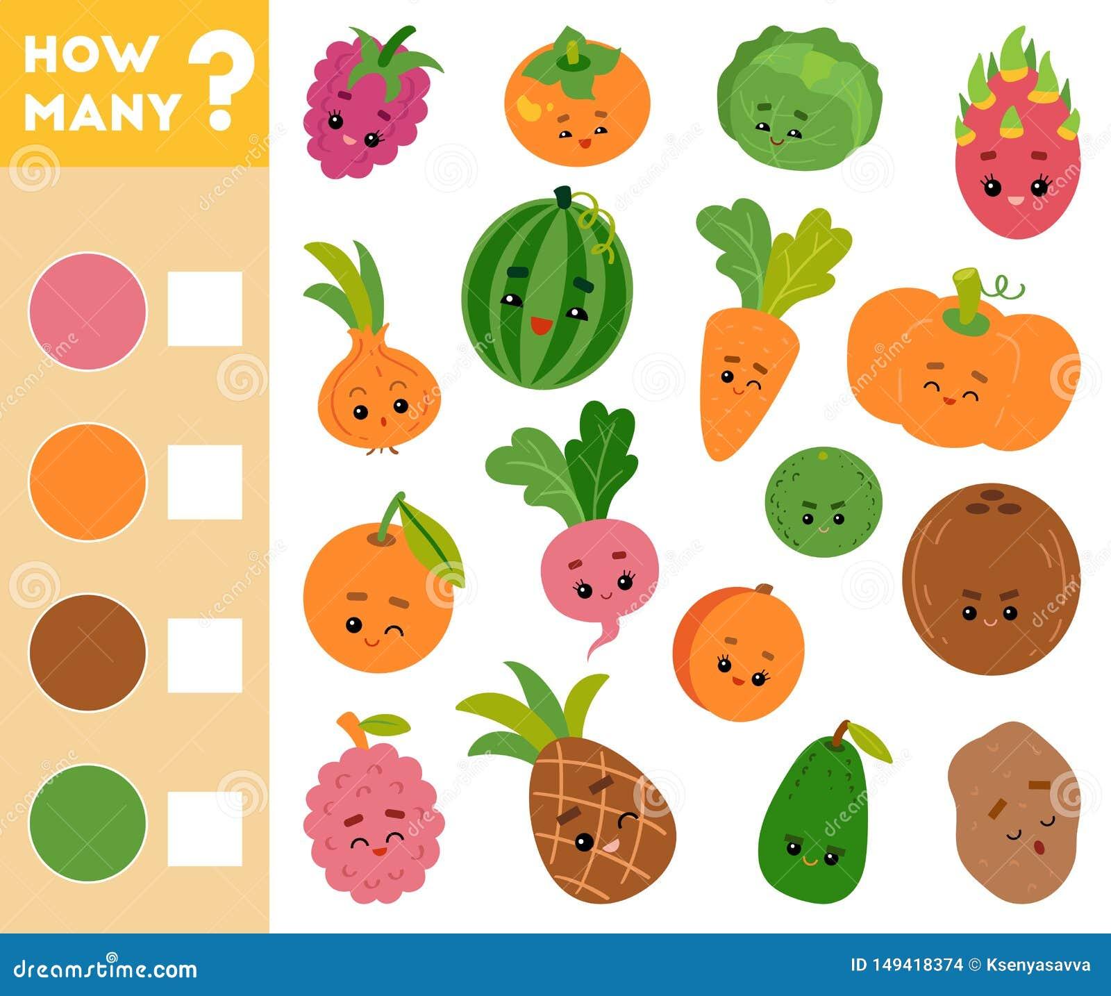 Tellend Spel voor Kinderen Onderwijs een wiskundig spel Tel hoeveel vruchten en groenten en het resultaat schrijf