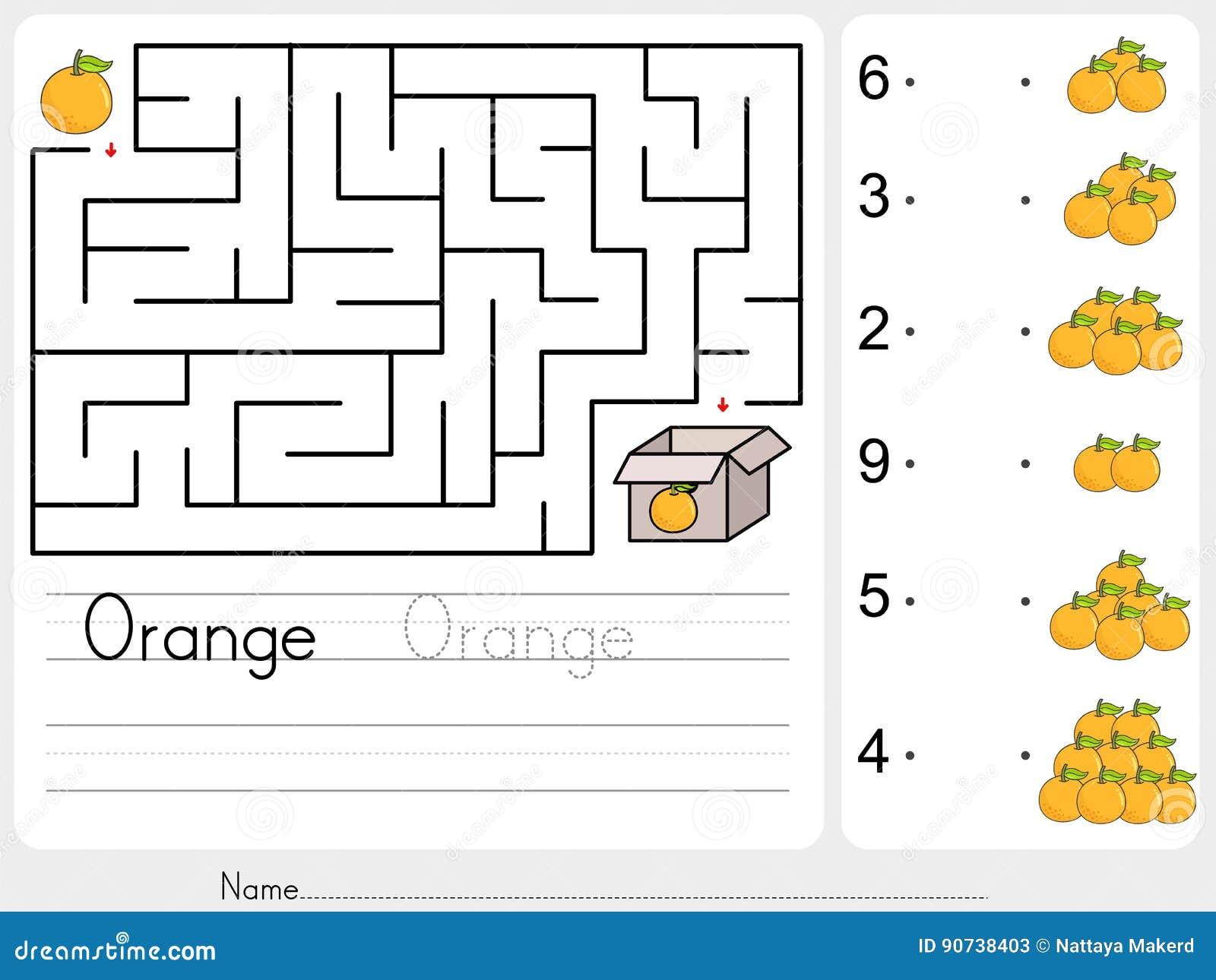 Tellende sinaasappelen en gelijke met aantal - het spel van het de dooslabyrint van de Oogstappel