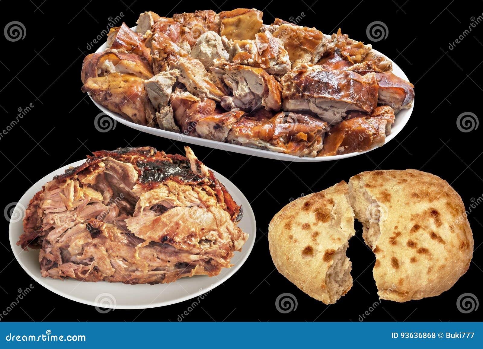 Tellervoll von feinschmeckerisches Spucken gebratenen Schweinefleisch-Scheiben und saftigem von Ferkel-Ham With Pitta Bread Torn-