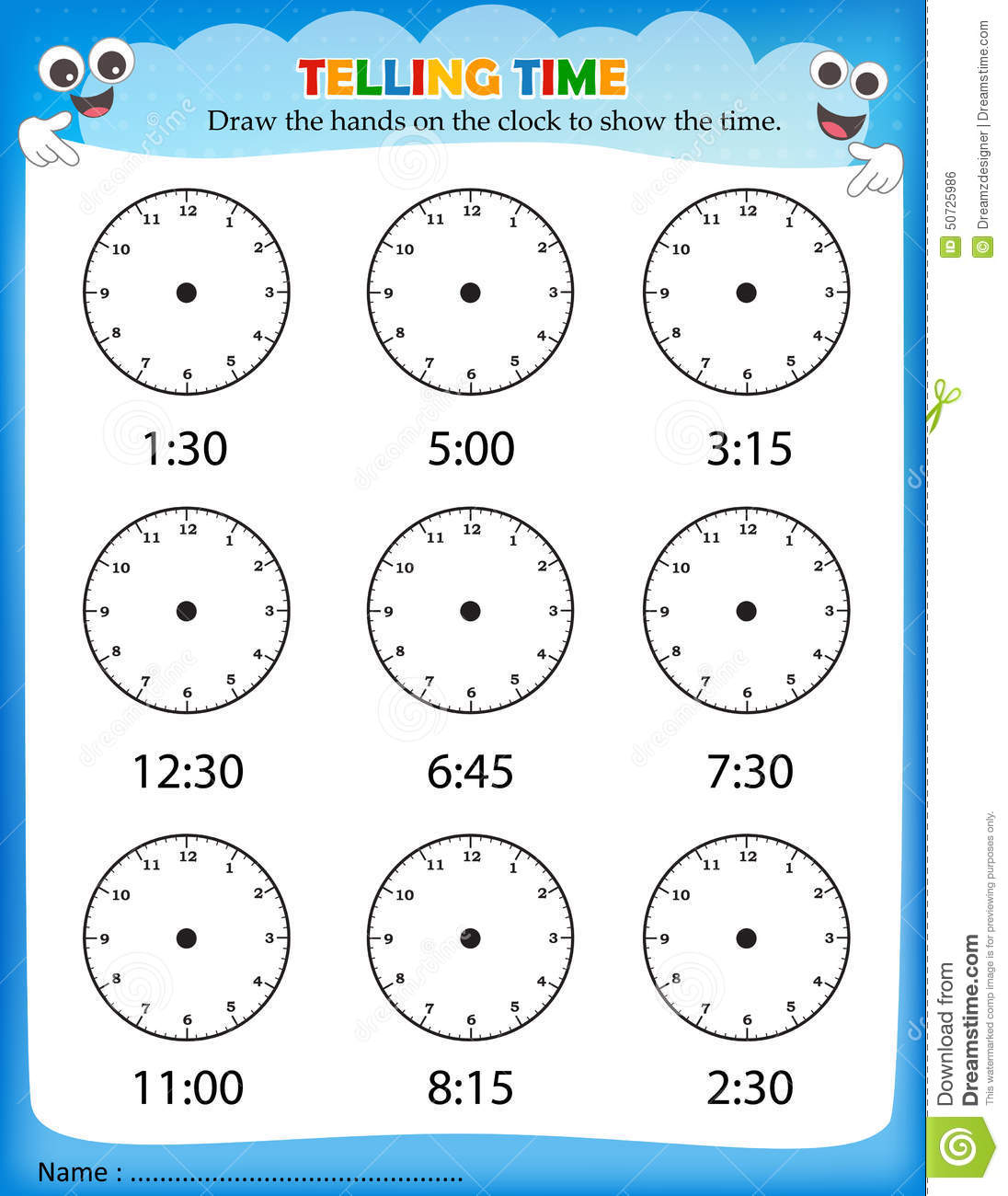 Worksheets Telling Time Worksheets Kindergarten telling time worksheet stock vector illustration of preschool worksheet