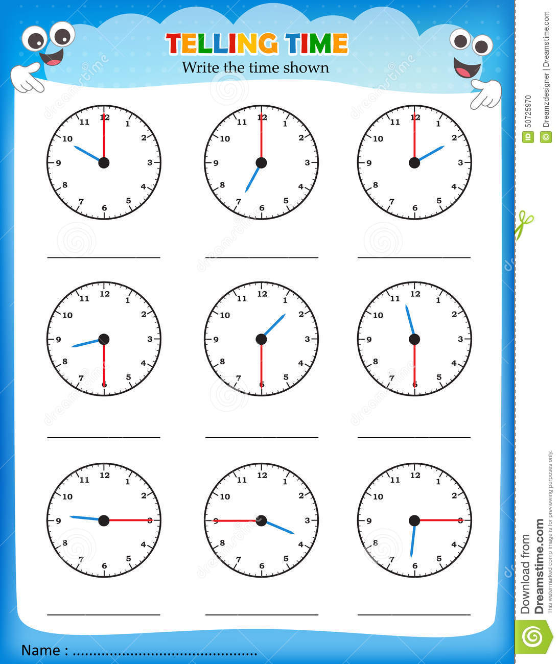 telling time worksheet write shown clock empty space 50725970