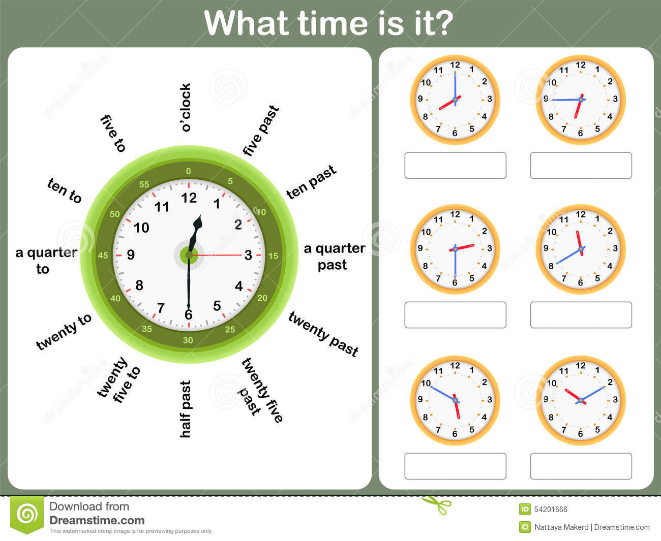 Telling Time Worksheet. Write The Time Shown On The Clock Stock Vector ...