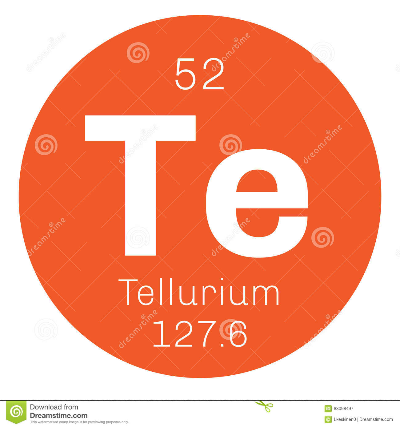Tellurium chemical element stock vector. Illustration of ...