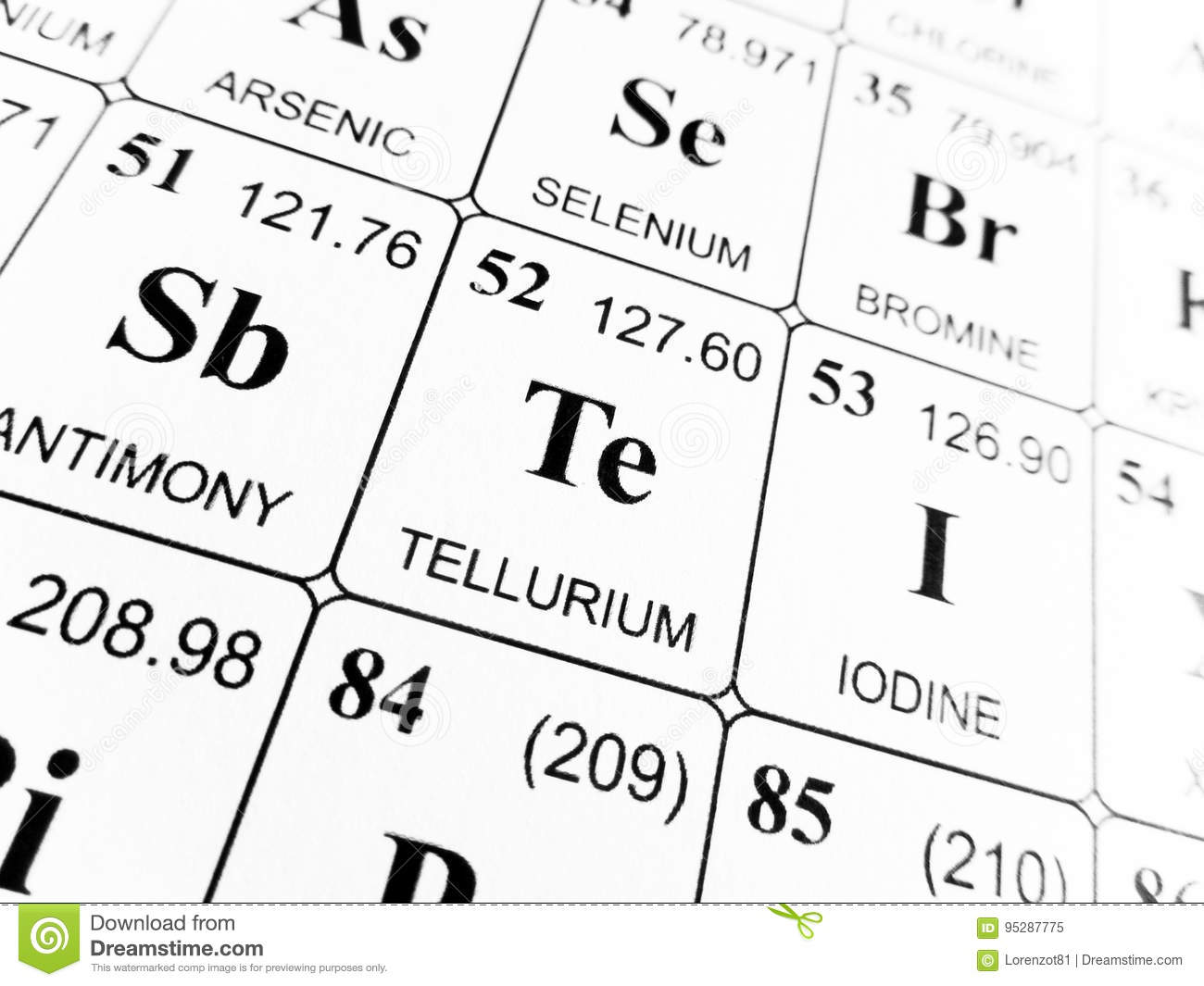 Tellurium on the periodic table of the elements stock image image download comp urtaz Choice Image