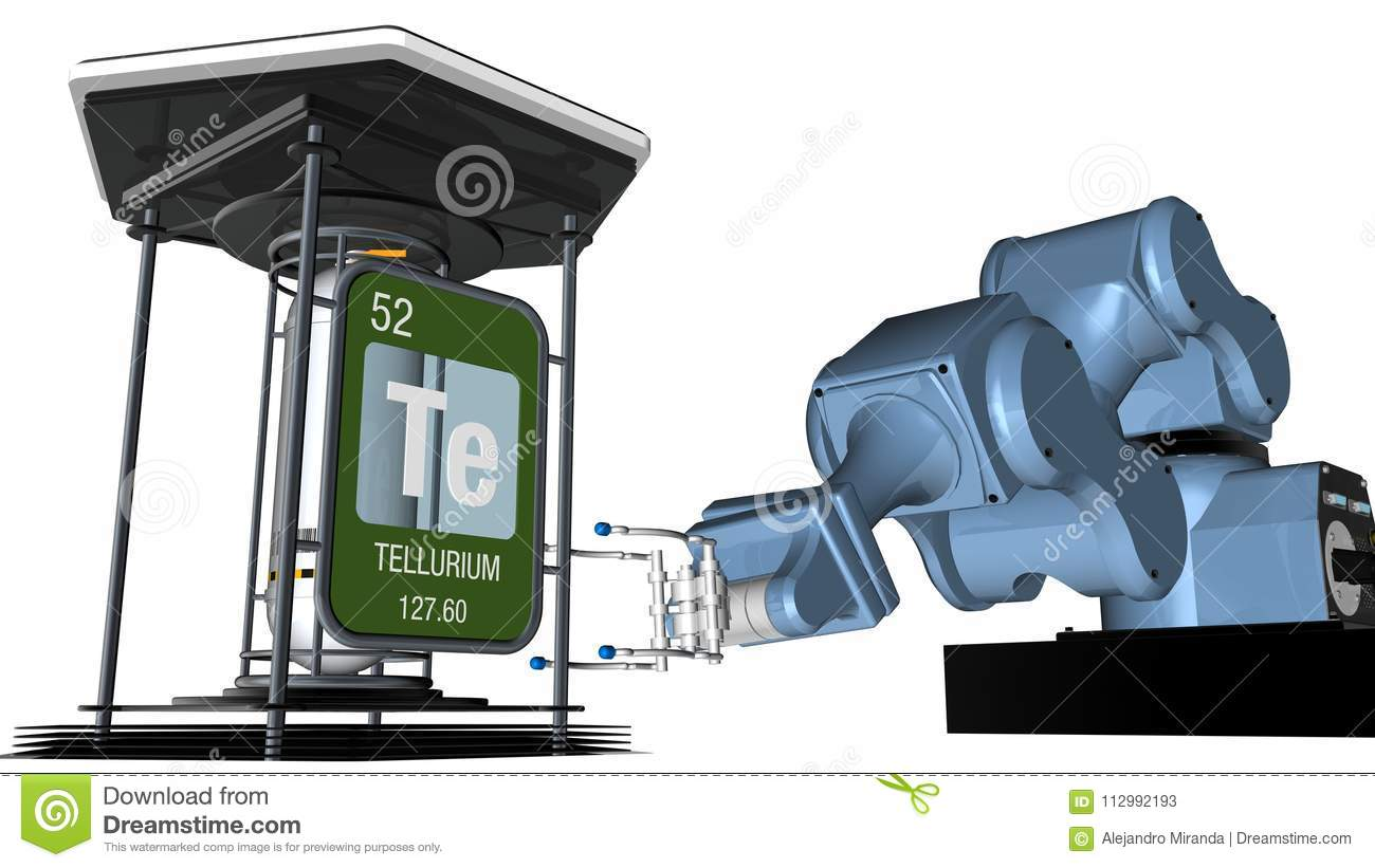 Tellurium symbol in square shape with metallic edge in front of a mechanical arm that will hold a chemical container. 3D render.