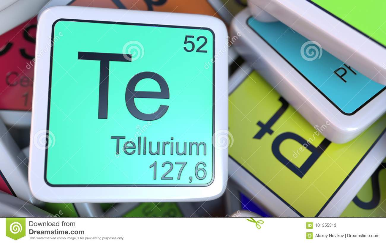 Tellurium Te Block On The Pile Of Periodic Table Of The Chemical