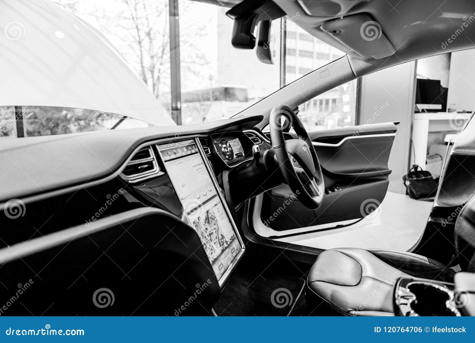 Telsa Electric Car Interior In Showroom Uk Steering Wheel Editorial