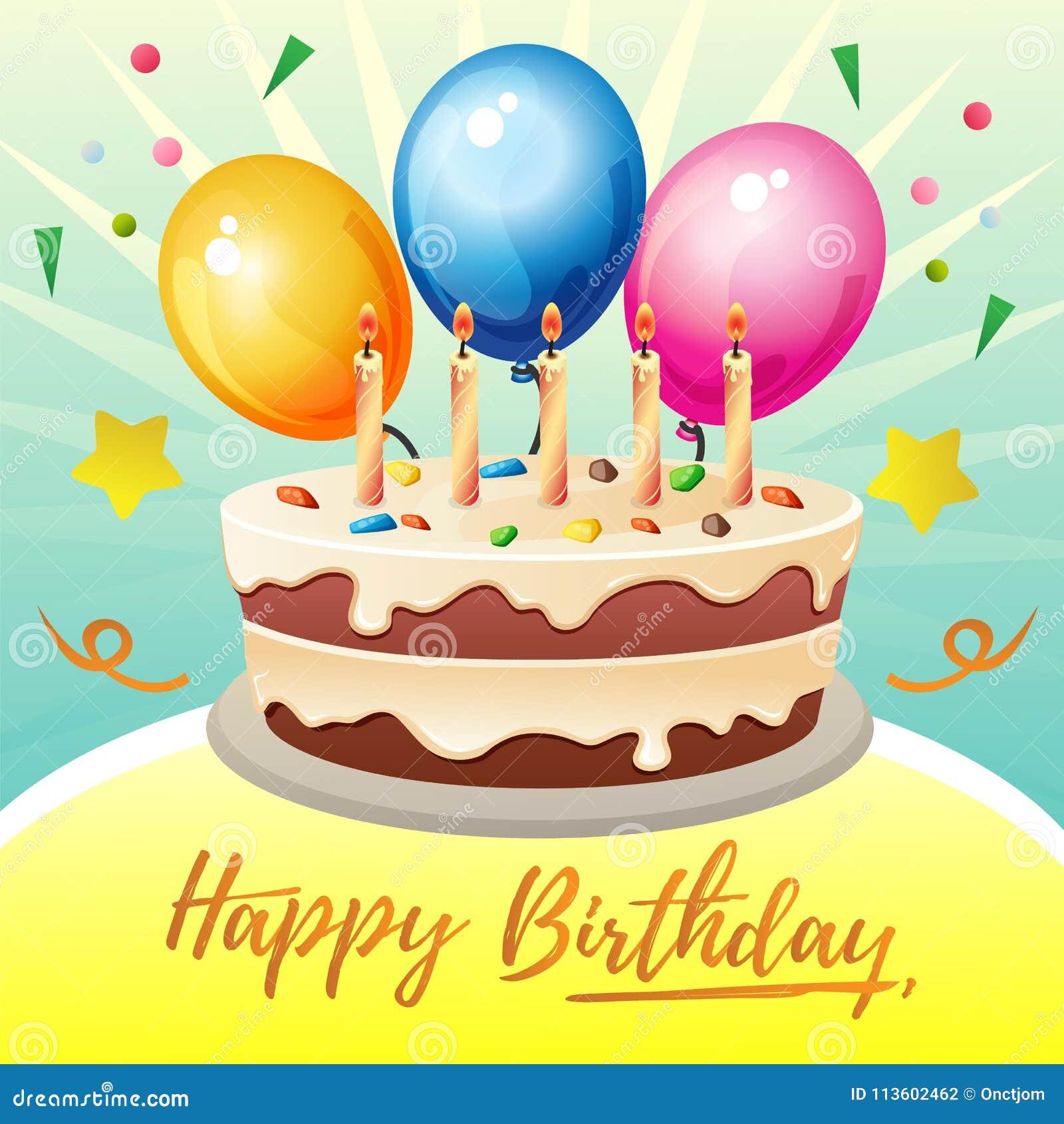 3eb5b1552a05a Tema Colorido De La Tarjeta De Cumpleaños Con La Torta Grande ...