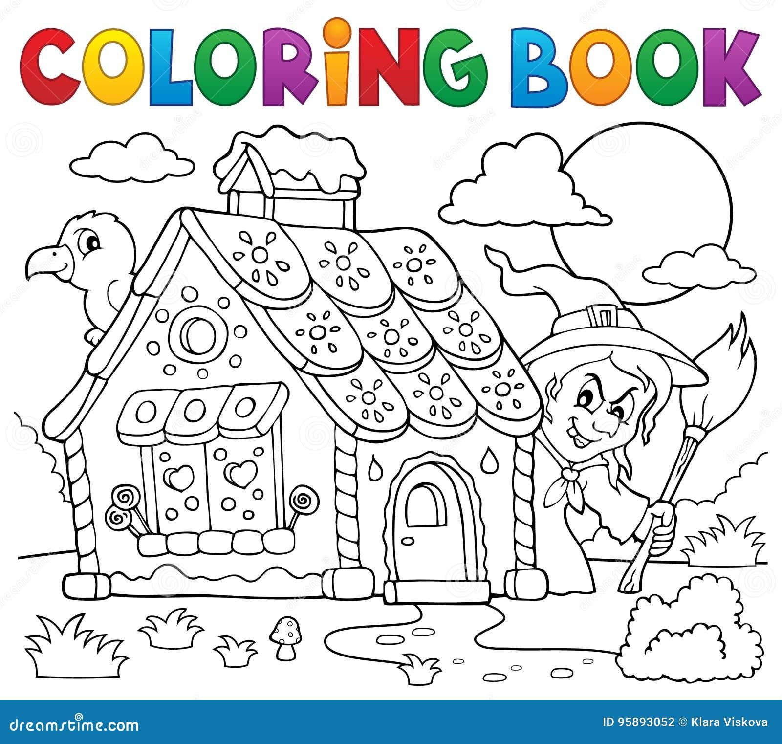 Tema 2 Da Casa De Pao De Especie Do Livro Para Colorir Ilustracao