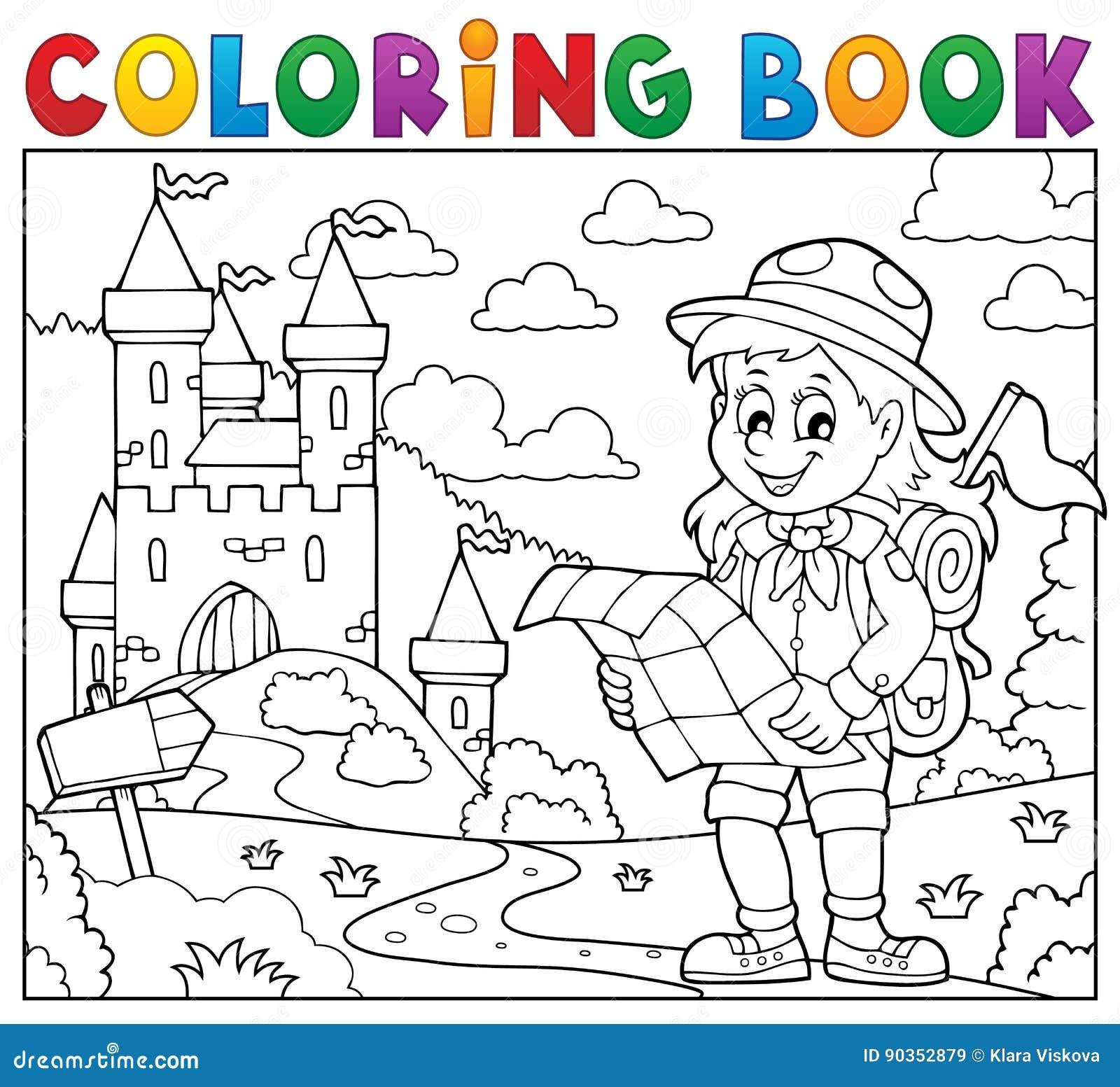Tema 3 De La Muchacha Del Explorador Del Libro De Colorear ...
