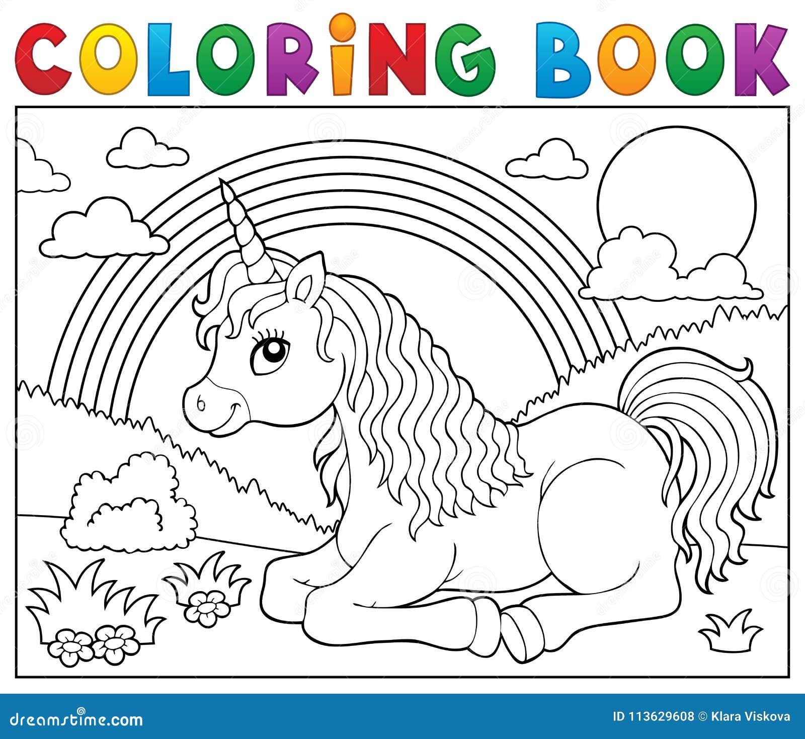 Tema De Mentira 2 Del Unicornio Del Libro De Colorear Ilustración ...