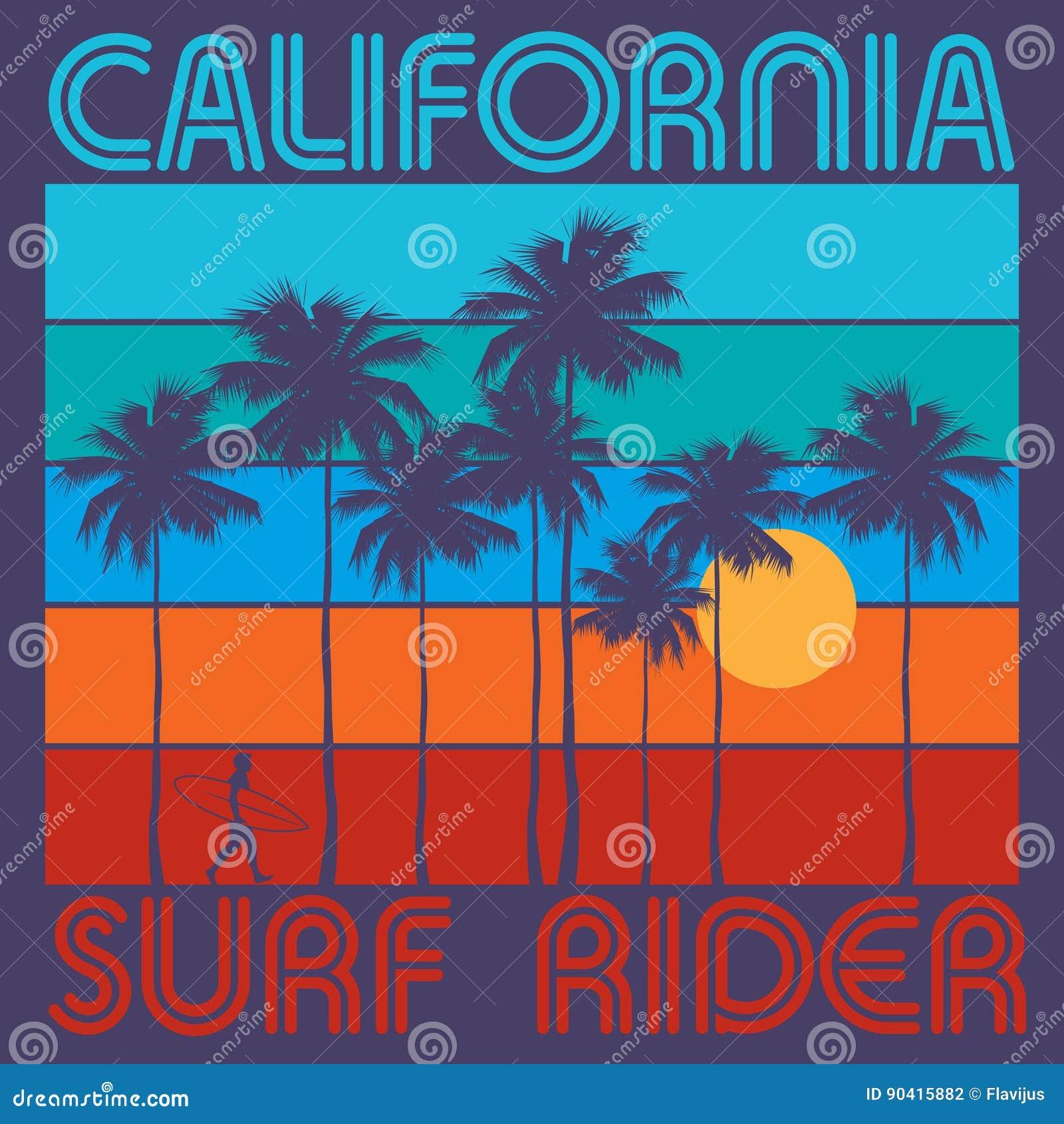 Tema de surfar com texto Califórnia, cavaleiro da ressaca