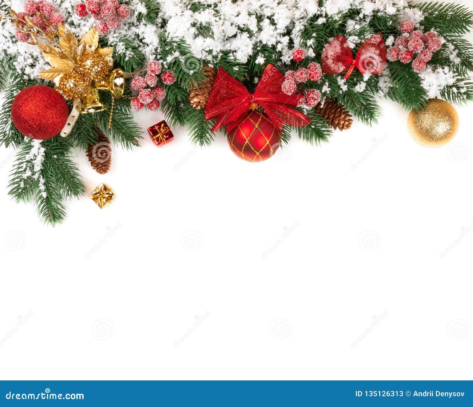 Tema del Año Nuevo para la nieve de la decoración de las ramas de la picea del sitio