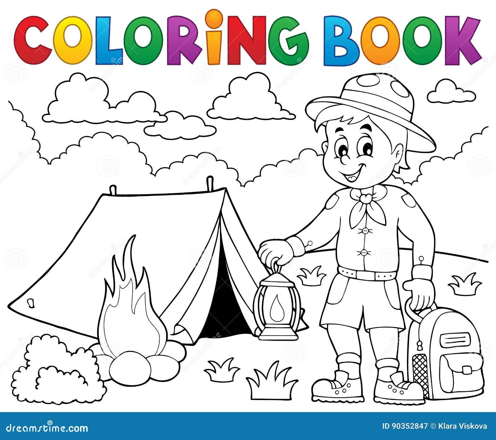 Tema 4 Del Muchacho Del Explorador Del Libro De Colorear Ilustración ...
