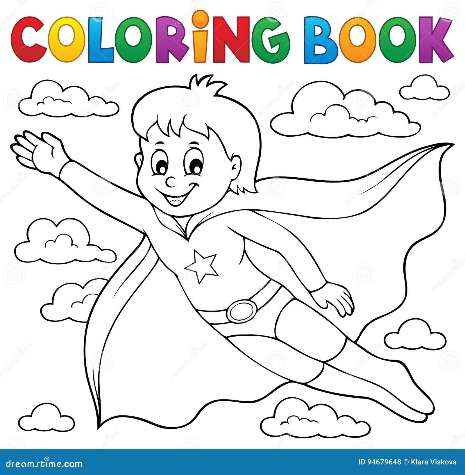 Tema 1 Del Muchacho Del Superhéroe Del Libro De Colorear Ilustración ...