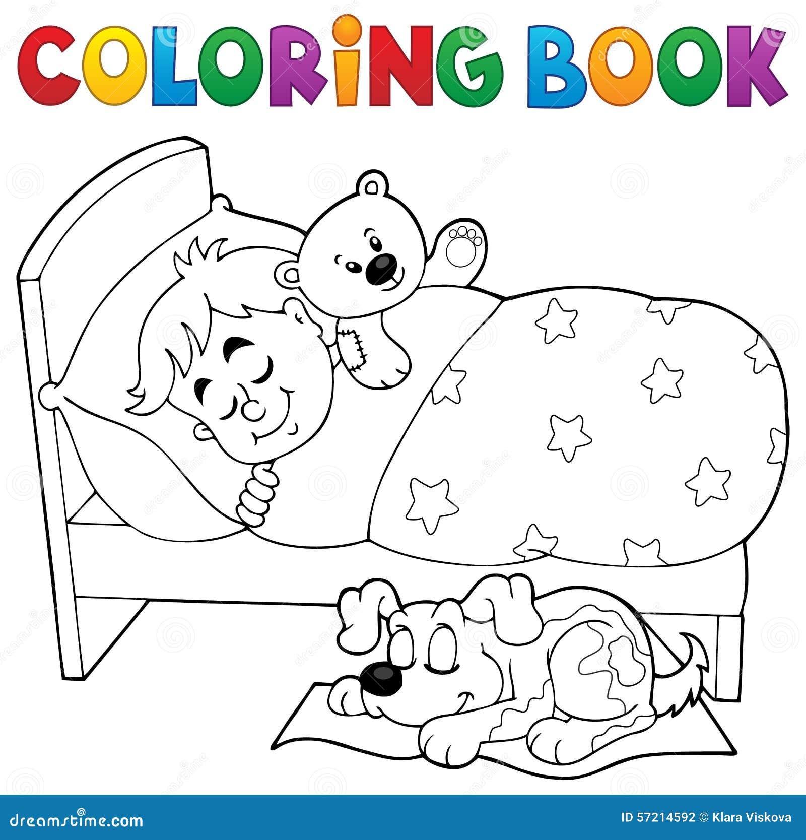 Tema 2 Del Niño El Dormir Del Libro De Colorear Ilustración del ...