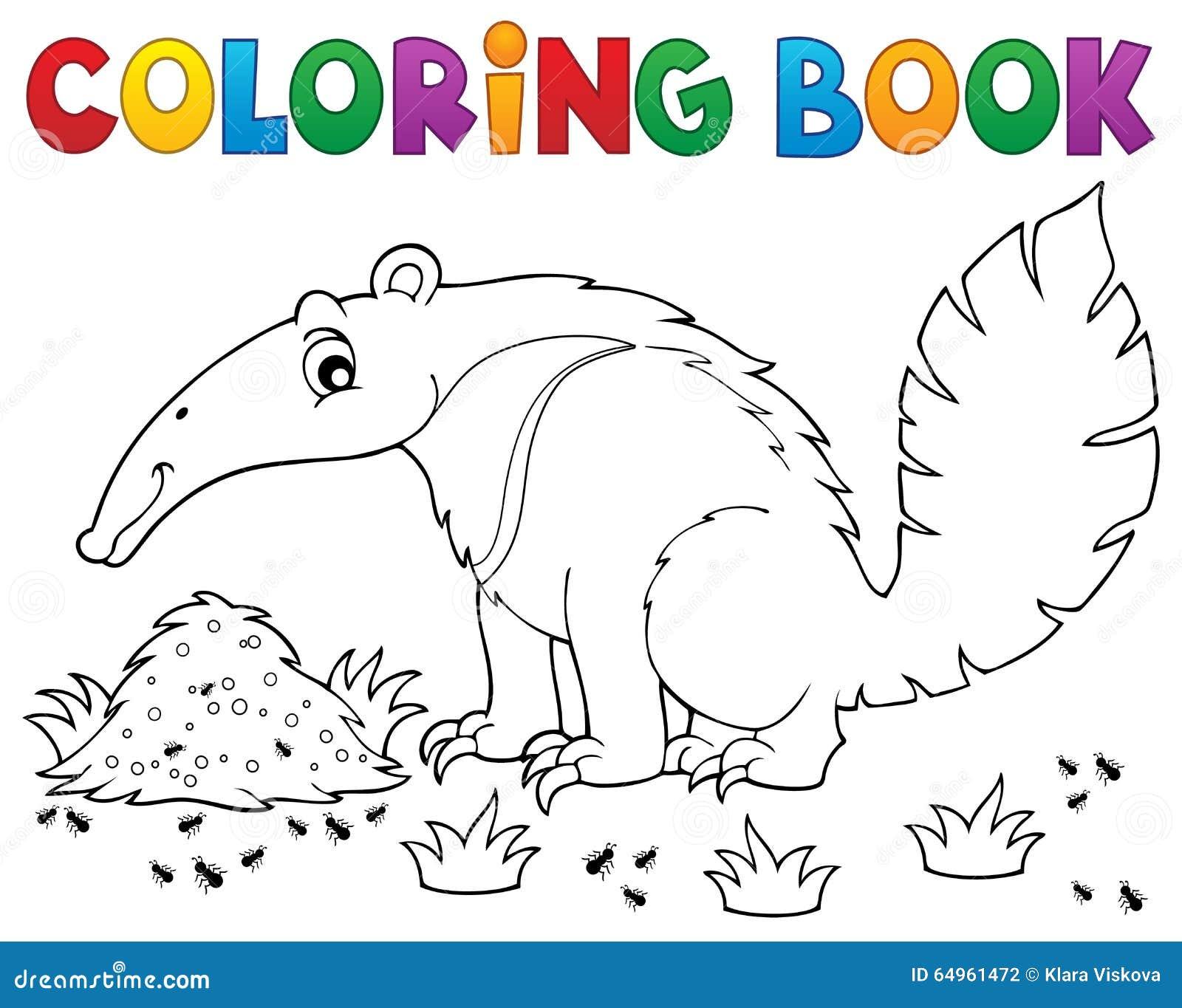 Tema 1 Del Oso Hormiguero Del Libro De Colorear Ilustración del ...