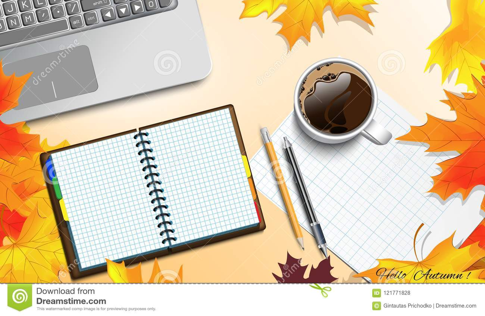 Tema del otoño en la tabla
