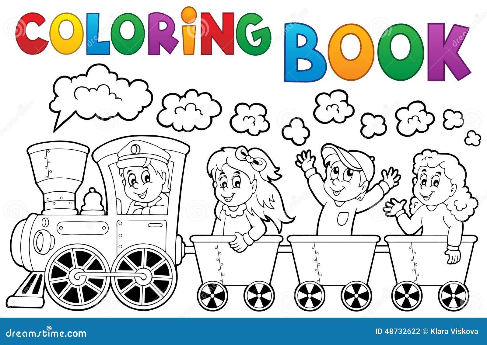Tema 2 del treno del libro da colorare illustrazione - Immagini del treno per colorare ...