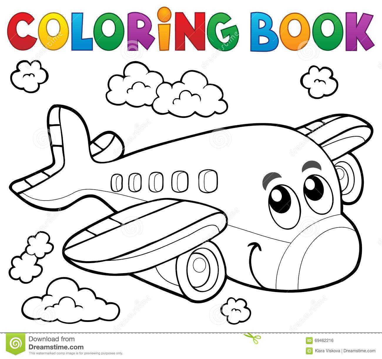 Tema 2 dell 39 aeroplano del libro da colorare illustrazione - Da immagine a pagina da colorare ...