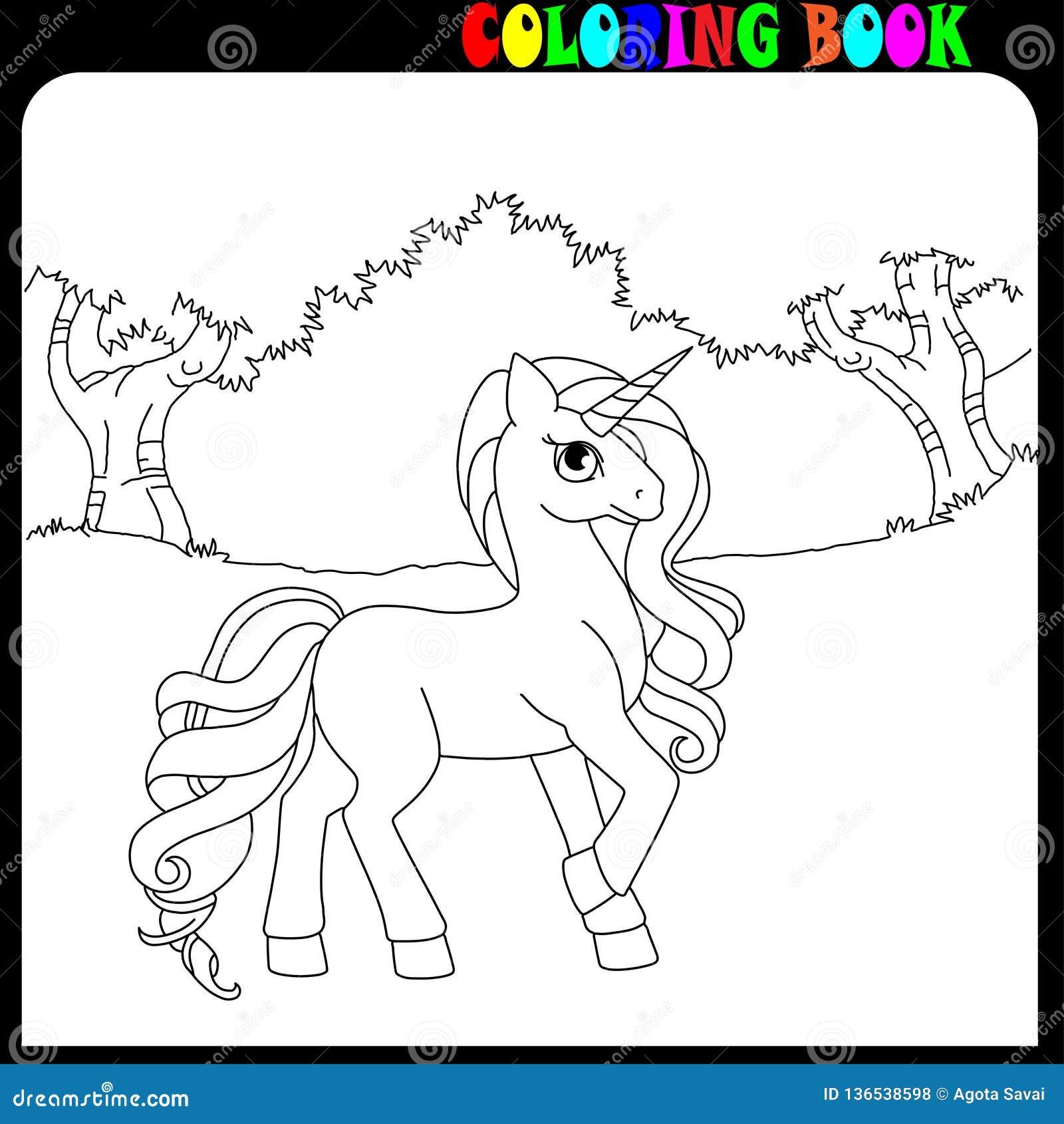 Tema Dell Unicorno Del Cavallo O Del Cavallino Del Libro Da