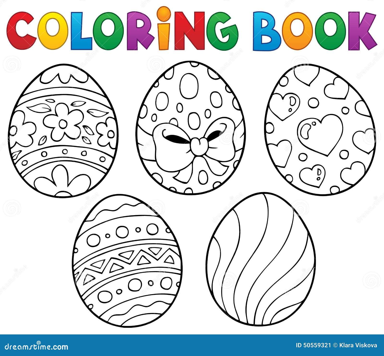 Tema 1 Delle Uova Di Pasqua Del Libro Da Colorare Illustrazione