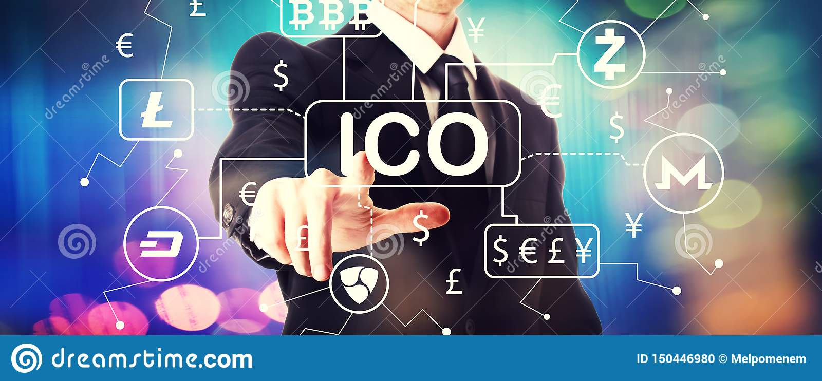 Tema di Cryptocurrency ICO con un uomo d affari