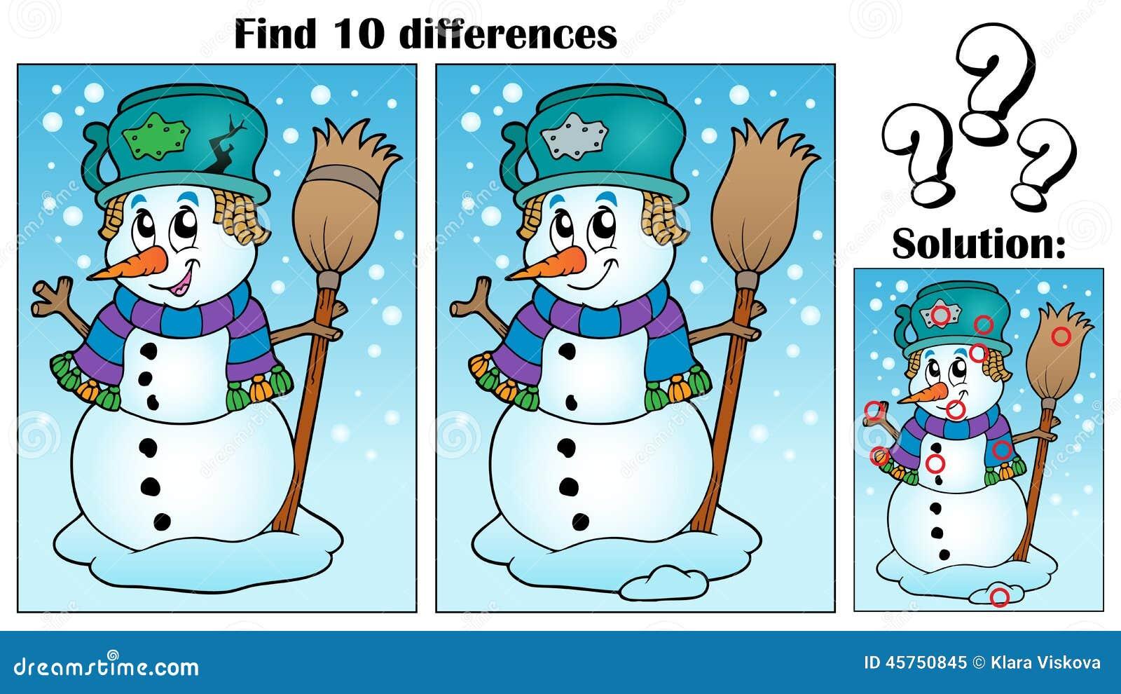 Tema di differenze del ritrovamento con il pupazzo di neve
