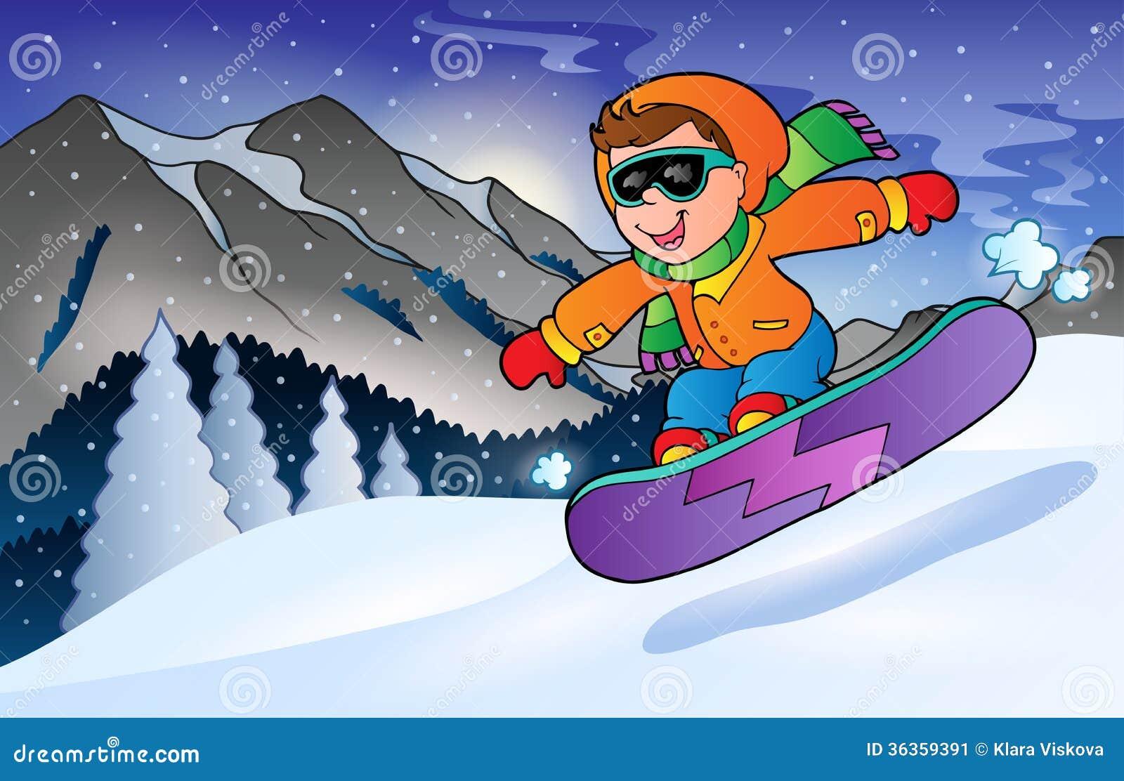 Tema 3 Di Sport Della Montagna Di Inverno Illustrazione Vettoriale