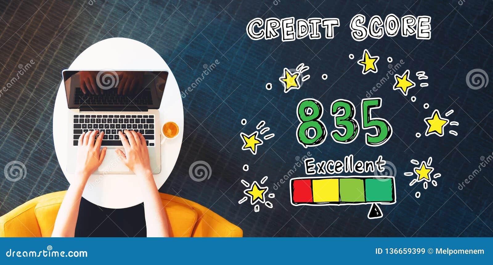 Tema excelente de la cuenta de crédito con la persona que usa un ordenador portátil