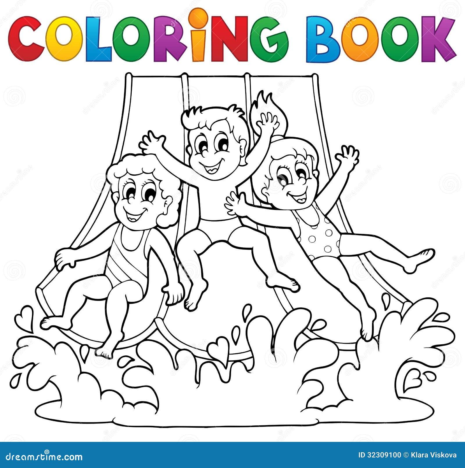 Tema 1 för aquapark för färgläggningbok