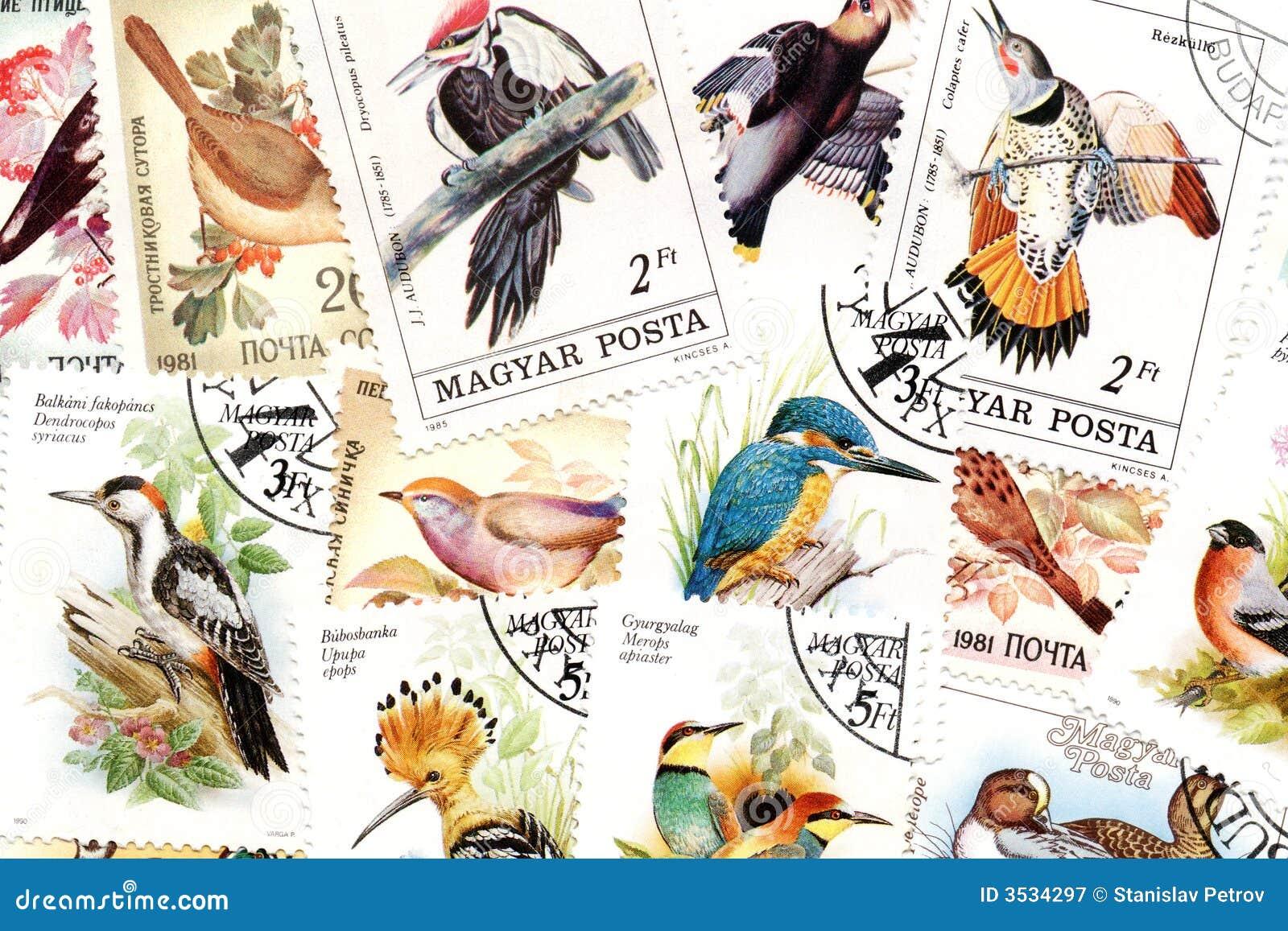 Tema för fågelportostämplar