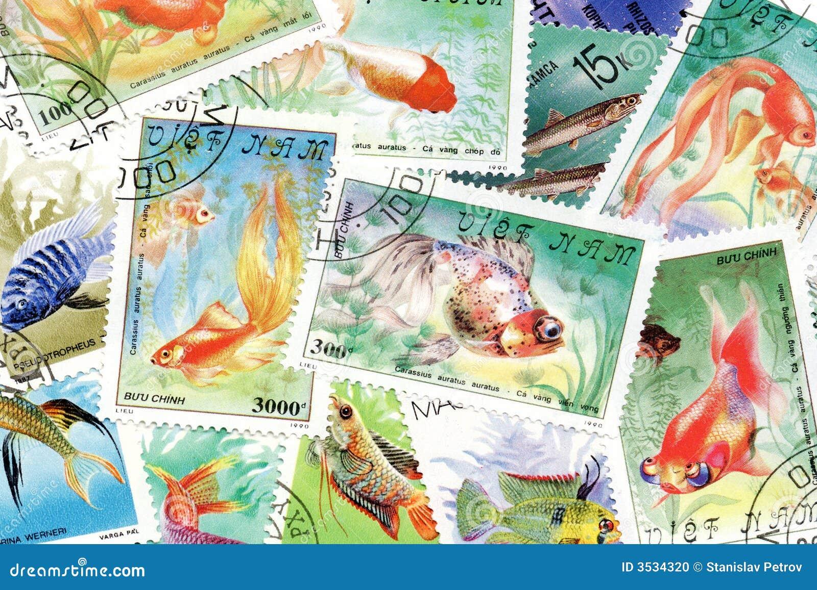 Tema för fiskportostämplar