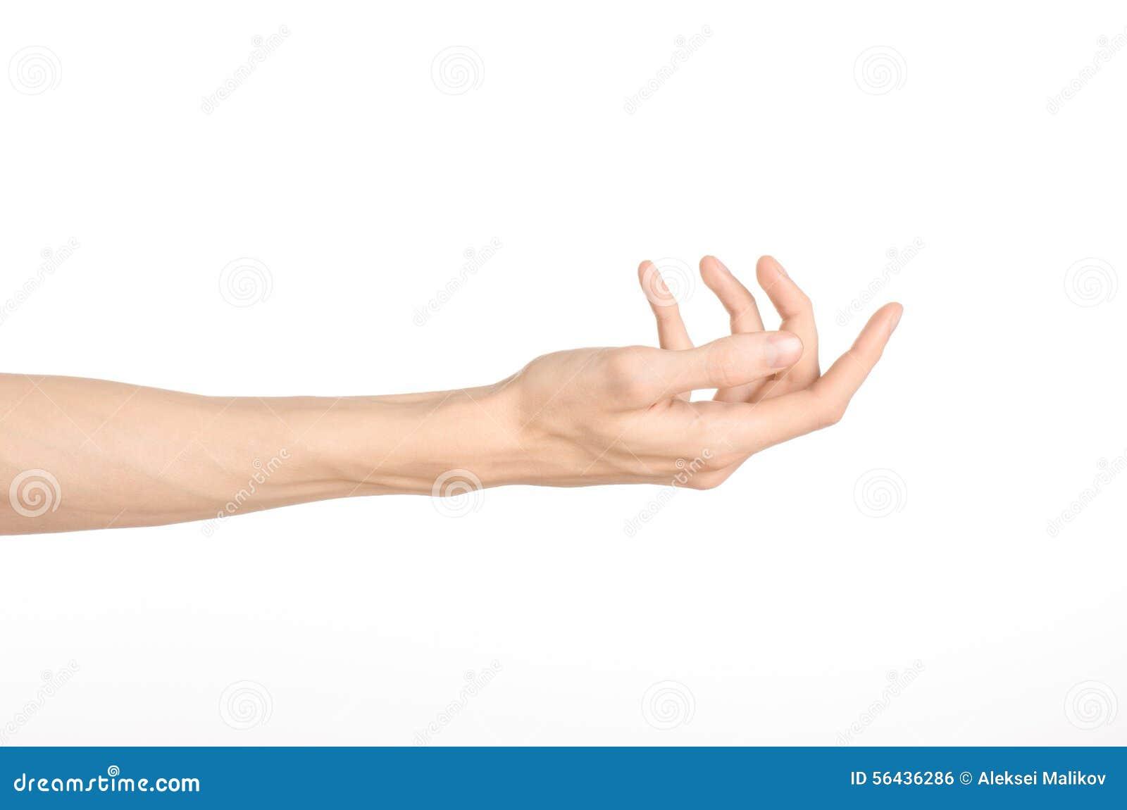 Tema för handgester: den mänskliga handen visar gester som isoleras på vit bakgrund i studio