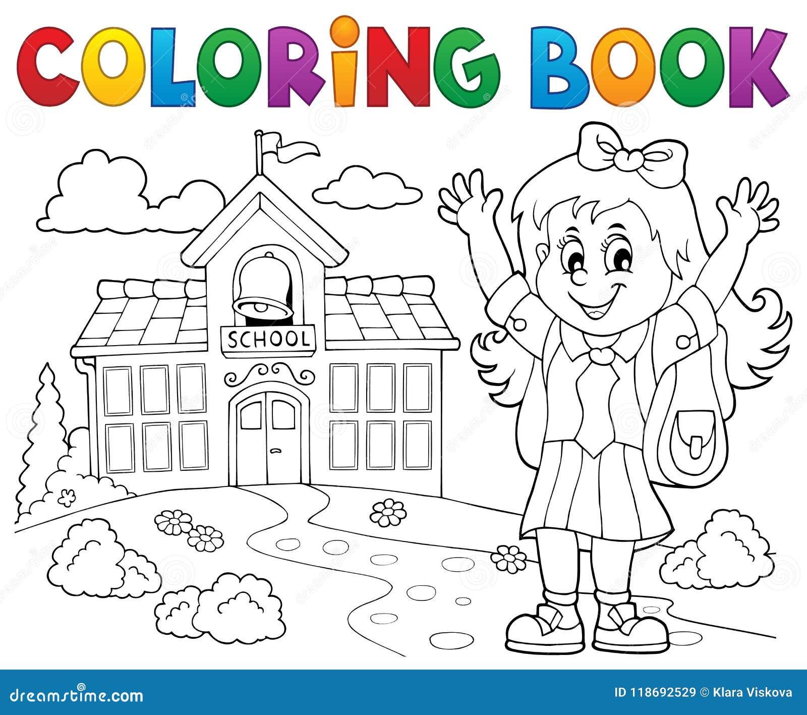 Tema feliz 2 de la muchacha del alumno del libro de colorear