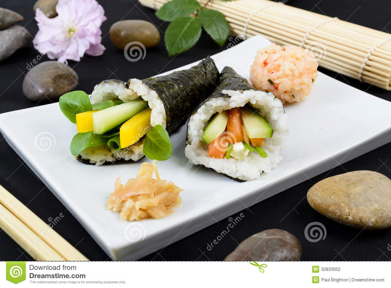 Temaki - Japanese hand rolled sushi. One with pea shoot, cucumber and ...