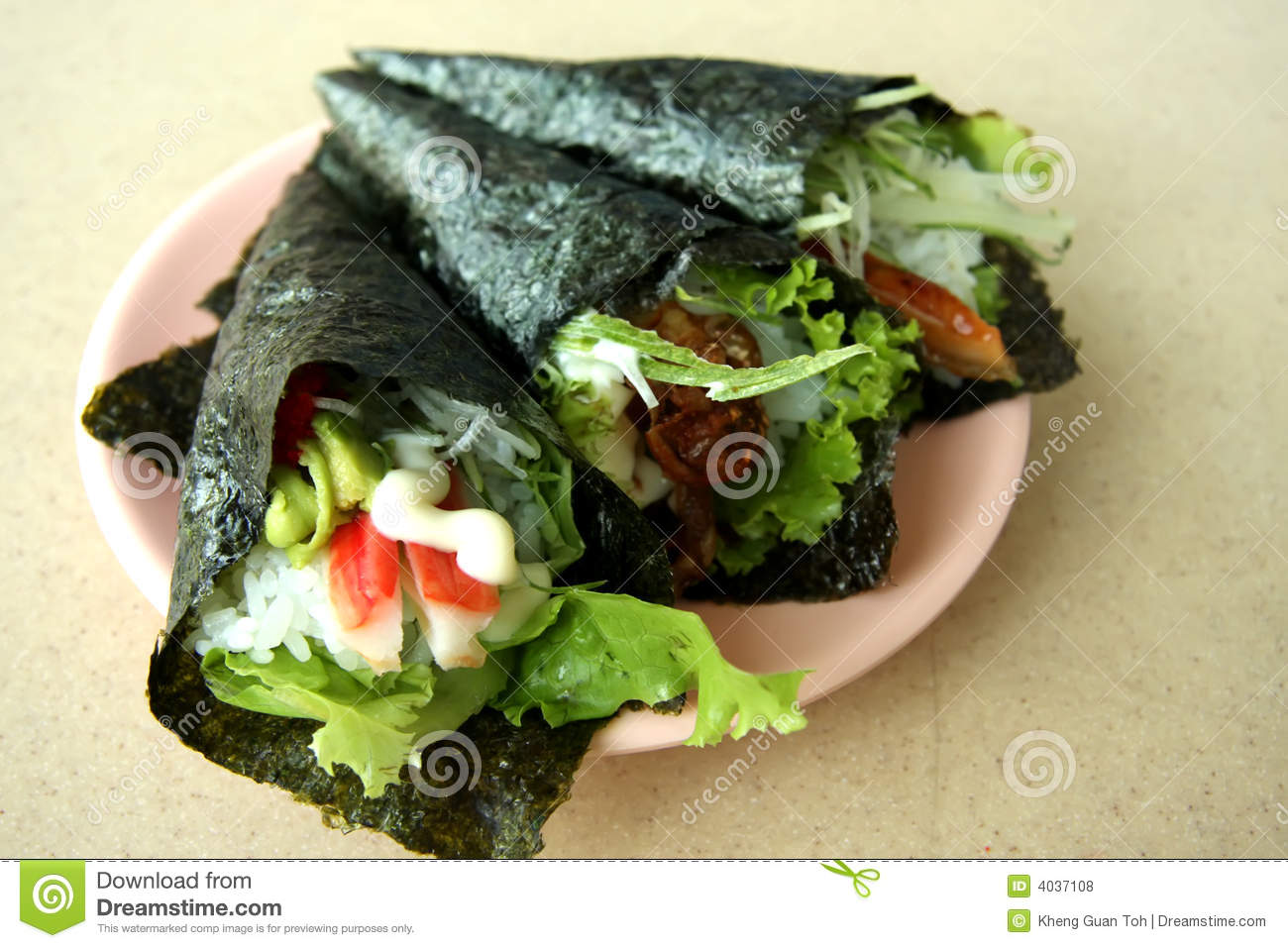 Hand rolled temaki sushi traditional japanese cuisine.