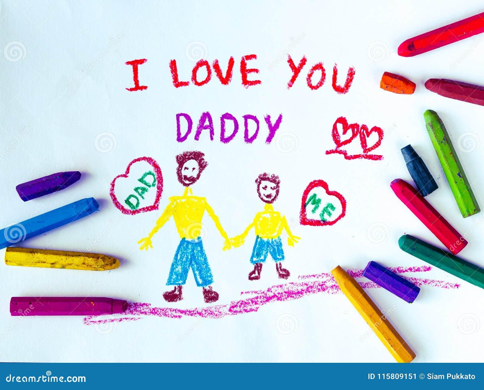 Temat för dagen för fader` s med ÄLSKAR JAG DIG PAPPAmeddelandet