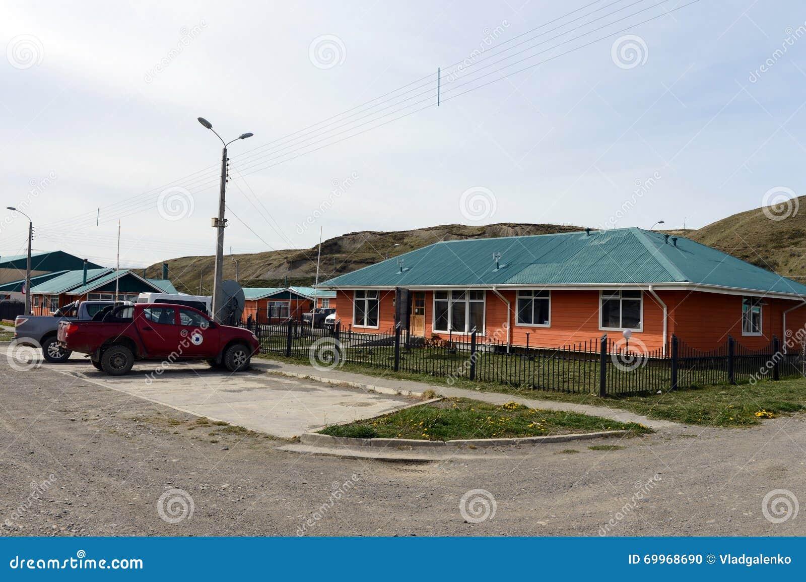 Temaukel的自治市的喀麦隆村庄中心 del fuego tierra
