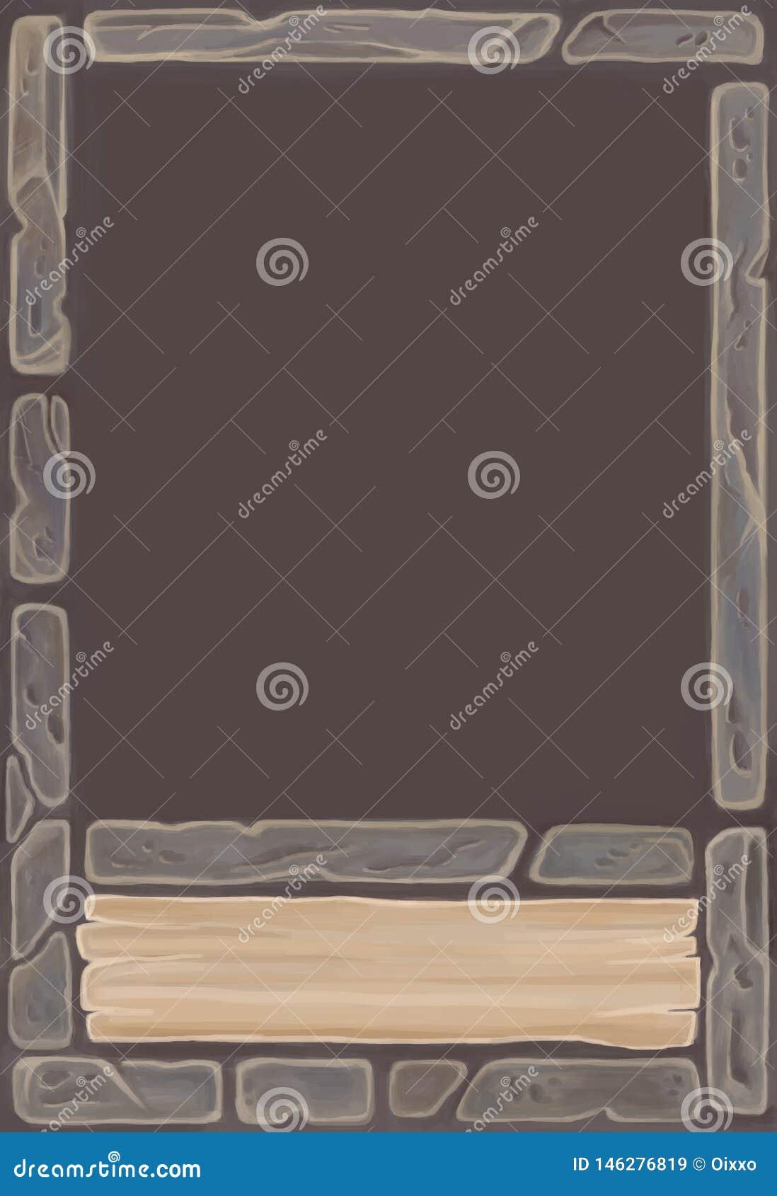 Temlate della carta da gioco di fantasia per il gioco con gli elementi dell interfaccia Ornamento di pietra della carta